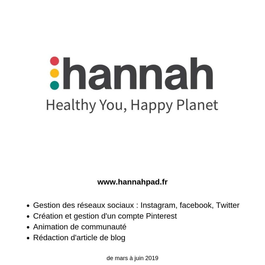 CM pour hannahpad france de mars à juin 2019