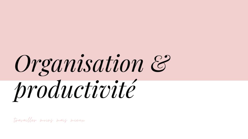 formation organisation et productivité